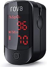 Pulsioxímetro Rova, Oxímetro Portátil de Dedo, Monitor de Ritmo Cardíaco, Monitor de Saturación de Oxígeno con Pantalla OLED Omnidireccional (incluye pilas y cordón)