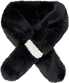 Richaa - Bufanda de piel sintética, cuello de piel de conejo sintético, cuello abrigado para el cuello, bufanda de felpa d...