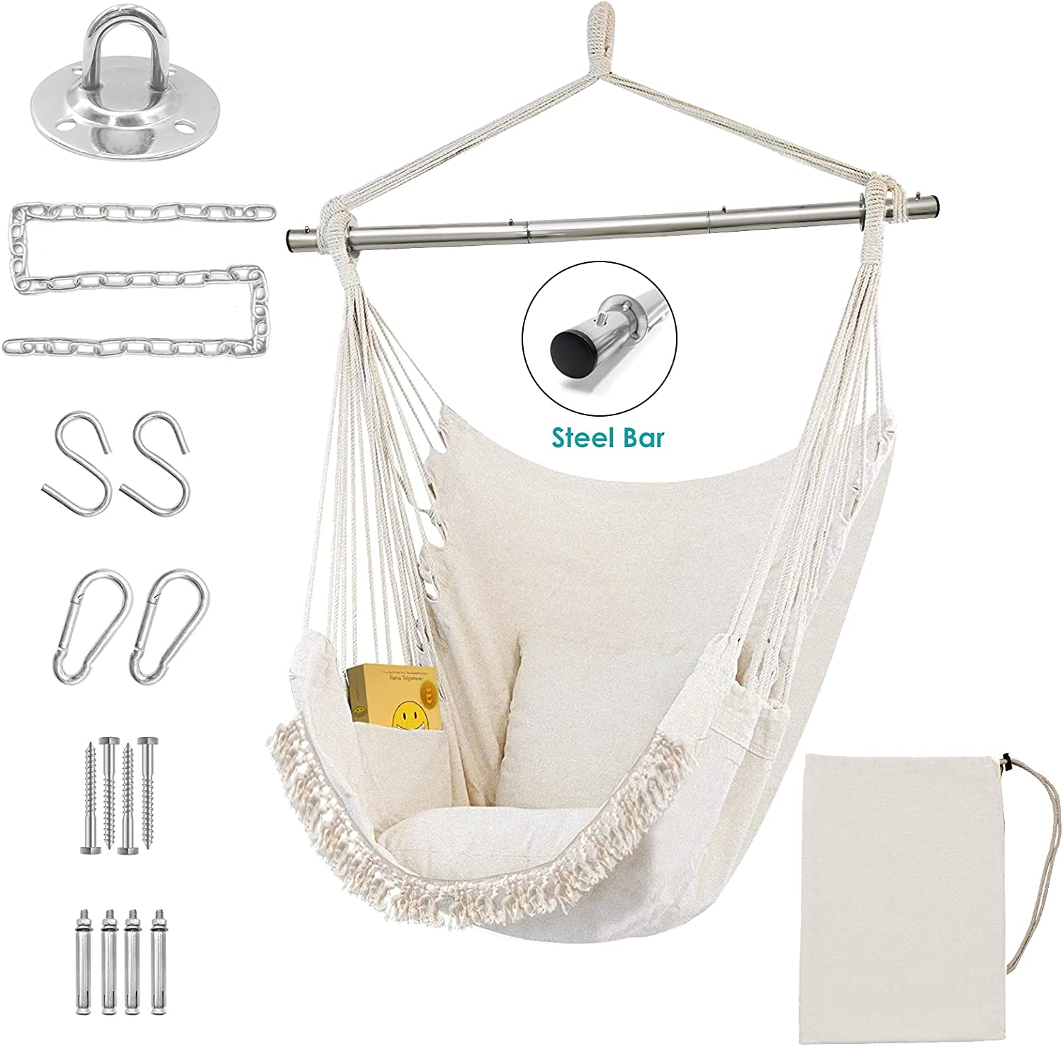 Hammock Chair Hanging Swing Detachable Steel Support 500lbs All items in the store Ranking TOP19 Bar