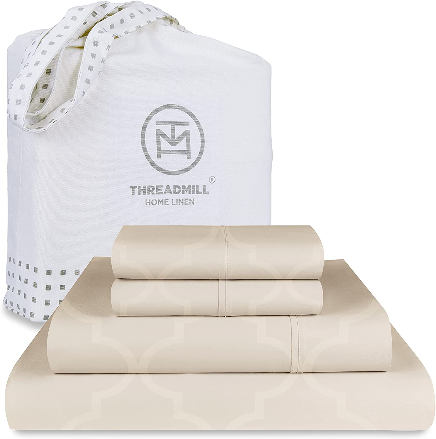 Threadmill Home Linen King Sheets - Pure Long Staple Cotton Tradition Jacquard Damask Weave, 4 Piece 300 Thread Count Bedsheet Set, Hotel Quality Beige Sheets with Elasticized Deep Pocket