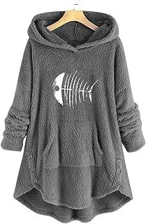 Shusuen Women's Long Sleeve Hooded Wool Baggy Poncho Cape Button Cardigans Outwear
