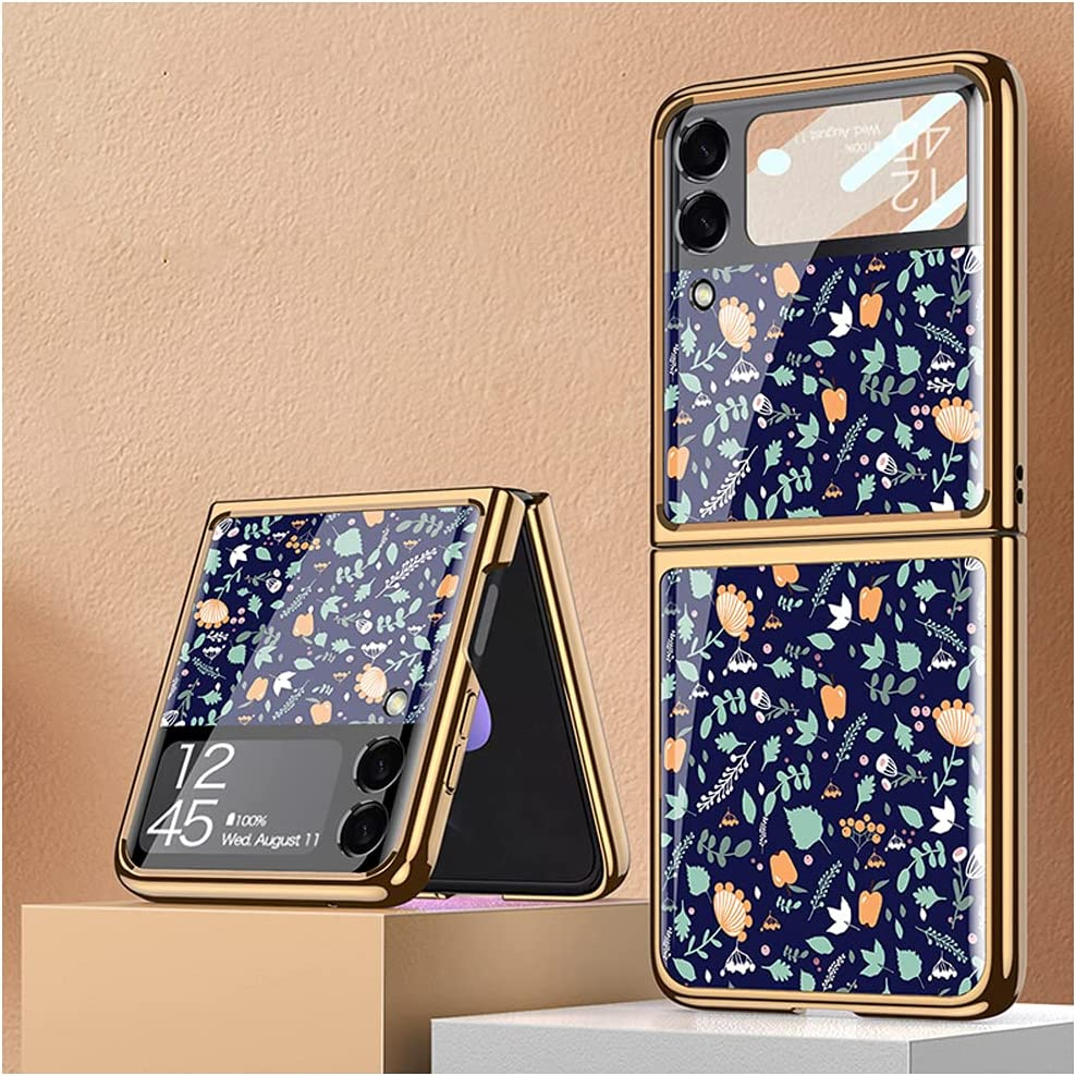 DOOTOO for Samsung Galaxy Z Flip 3 Case Luxury Plating PC Hybrid Glass Crystal Cover Colorful Flower Pattern Fold Protection Case for Samsung Galaxy Z Flip 3 2021 (Multicolor 03)