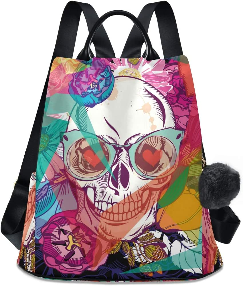 ALAZA Fixed price for sale Skull and Flowers Day of Adju Max 61% OFF the Purse Dead Backpack with