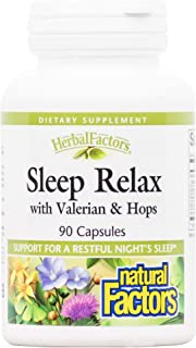 Herbal Factors Sleep Relax Formula by Natural Factors, Natural Sleep Aid with Valerian Root, Passion Flower and Skullcap, ...