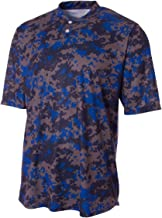 A4 Sportswear 2-Button Camo Athletic Moisture Wicking Jersey Henley Shirt (6 Camo Colors in Youth & Adult Sizes)