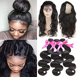 Hermosa 360 Lace Frontal with Bundles 16 18 20+14inch 8A Brazilian Body Wave Virgin Hair with Frontal Closure Pre Plucked 360 Lace Frontal with Baby Hair Natural Black Color