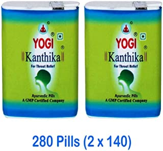 Yogi Kanthika Ayurvedic and Herbal Pills Cough Suppressant, Mint Lozenges Throat Drops For Sore Throat, Cold, Smoker's Cough & Clear Voice (Pack of 2) 280 Pills