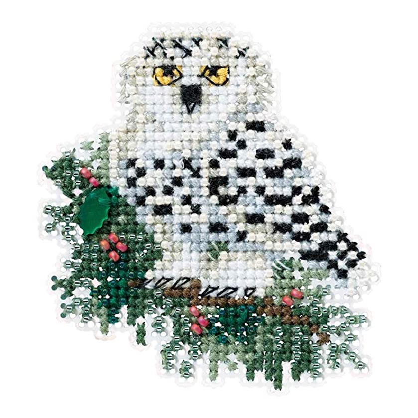 Snowy Owlet Beaded Counted Cross Stitch Christmas Ornament Kit Mill Hill 2016 Winter Holiday MH181633