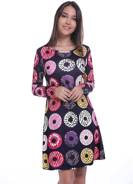 Fancyqube Women's Long Sleeve Dinosaur Plaid Print Casual TShirt Dress Pockets