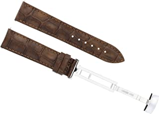 20MM LEATHER STRAP BAND DEPLOYMENT CLASP FOR GIRARD PERREGAUX WATCH LIGHT BROWN