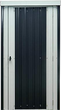 Hanover HANPATSHD-GW Twist Lock and 2 Tool Hooks, Dark Gray/White 3 x 6-Ft. Galvanized Steel Patio Storage Shed
