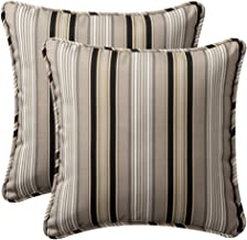 Pillow Perfect Decorative Black Striped Toss Pillows, Square, 2-Pack