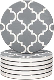 Y YHY Absorbent Stone Coaster Set, Drink Spills Coasters, Set of 6, Grey & White, Geometric Pattern