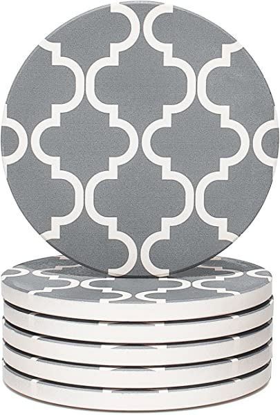 Y YHY Absorbent Stone Coaster Set Drink Spills Coasters Set Of 6 Grey And White Geometric Pattern