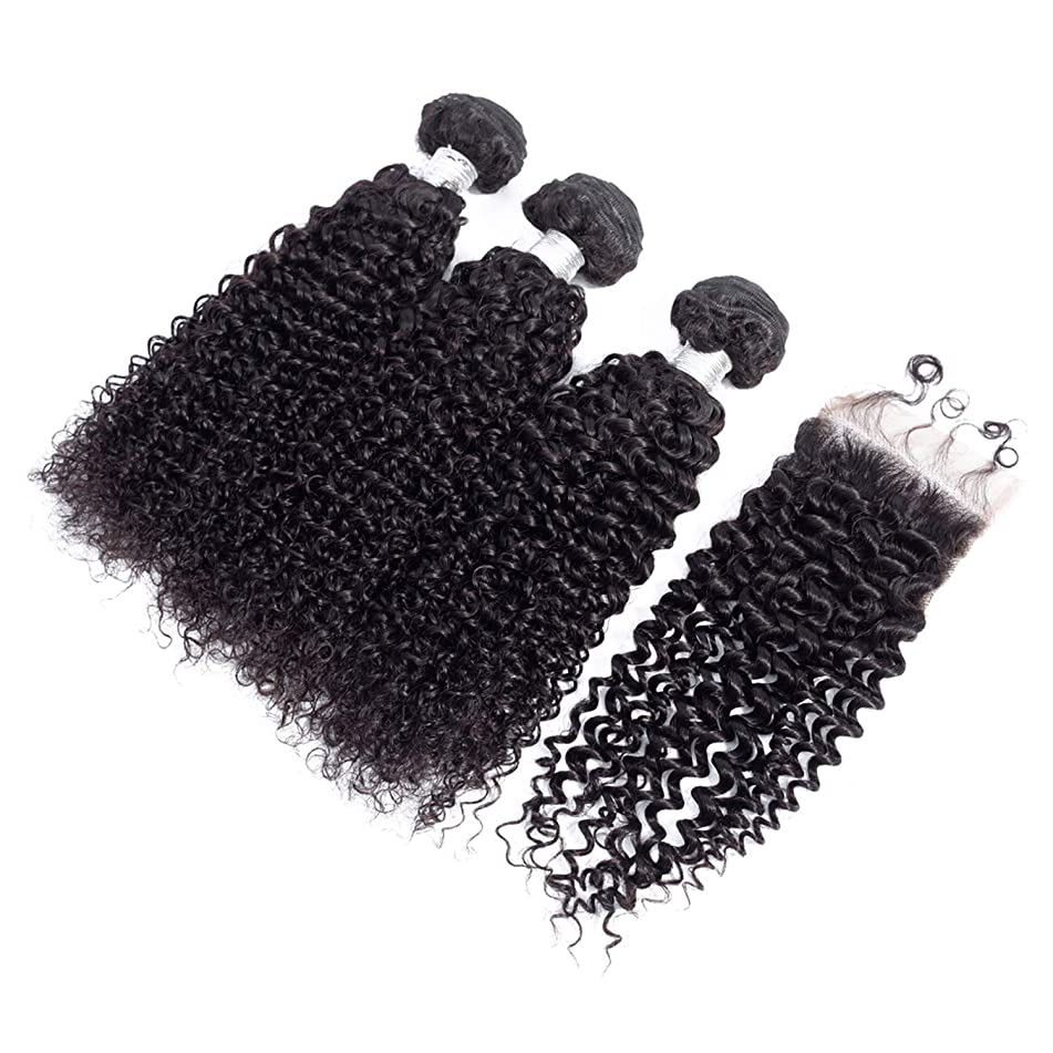 100% Peruvian Hair 4 PCS/Lot Kinky Curly Human Hair Bundles With 44 Closure With Baby Hair Natural Color,Natural Color,18 & 20 & 22 & Closure 16,Free Part