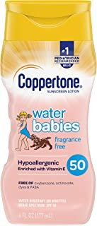 Coppertone Waterbabies Fragrance Free SPF 50 Sunscreen Lotion, Tear Free, Water Resistant, #1 Pediatrician Recommended bra...