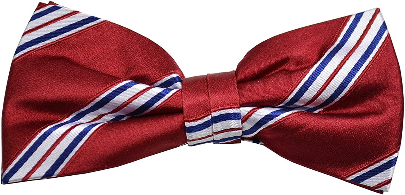 Paul Malone Silk Bow Tie Red, White and Blue
