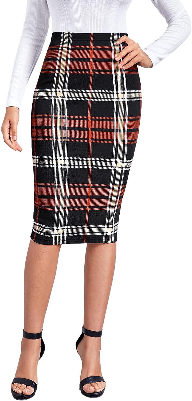 MakeMeChic Women's Casual Plaid Print High Waist Knee Length Bodycon Pencil Skirt