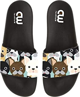 Cartoon French Bulldog Dogs Print Summer Slide Slippers for Men Women Kid Indoor Open-Toe Sandal Shoes