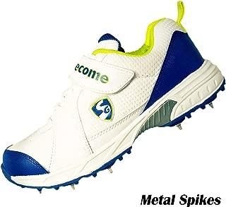 SG SVG Cricket Full Metal Spikes Shoes for Men, White/Lime/Royal Blue
