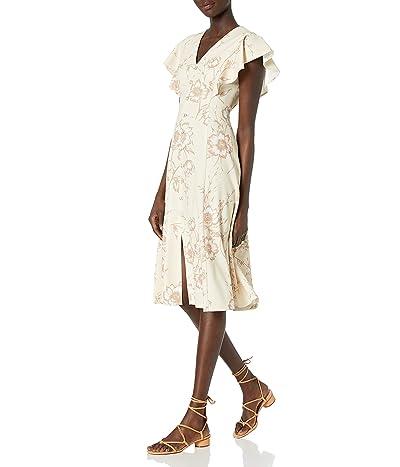 Calvin Klein Flutter Sleeve V-neck Midi With Button Front Dress