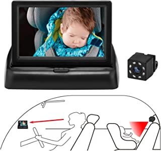 QIUTIMIY Baby Car Seat Mirror, View Rear Facing Infant Infrared Night Vision Camera, 360° Rotatable Fixing Bracket,Adjusta...