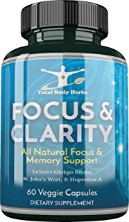 Focus and Clarity - 60 Veggie Caps, All Natural Focus and Memory, Neuro (Brain) Support*, Supplement (1 Month Supply)
