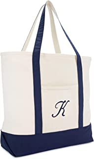 Monogram Tote Bag Personalized Navy Blue Initial A-Z