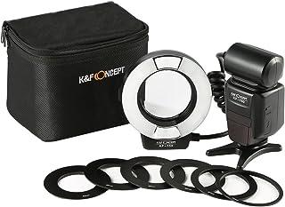 Flash Macro Canon- K&F Concept Flash Anular Ring para Canon Compatible con E-TTL, Esclavo Inalámbrico Pantalla LCD y 6 Ani...