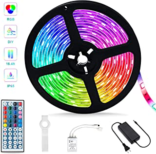 Led Strip Lights,16.4ft Waterproof RGB SMD 5050 Color Changing Tape Light,IR Remote Controller Dimmable Flexible Rope Lights,Suitable for Christmas,Patio and Indoor DIY Mood Lighting Lovers