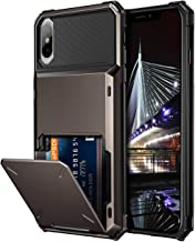 Vofolen Case for iPhone XS Max Case Wallet ID Slot Credit Card Holder Scratch Resistant Dual Layer Protective Bumper Rugged TPU Rubber Armor Hard Shell Case Cover for iPhone XS Max 10S Max (Gun Color)