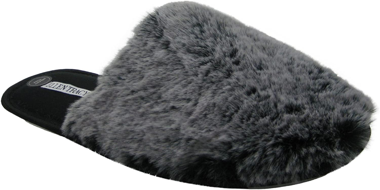 Ellen Tracy Women's Plush Warm Fluffy Memory Foam Comfortable Luxurious House Home Bedroom Slippers