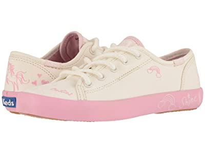 Keds Kids Kickstart Seasonal (Little Kid/Big Kid) (White Messaging) Girl