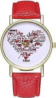 Casual Watch for Women Heart Shape Love Bracelet Red Color