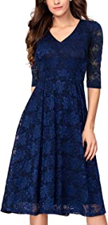 Noctflos Women's 3/4 Sleeves Lace Fit & Flare Midi Cocktail Dress for Women Party Wedding