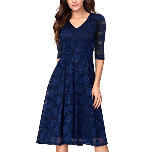 ab29575a45f3 Noctflos Lace V Neck Fit & Flare Midi Cocktail Dress for Women Party Wedding  Navy Blue