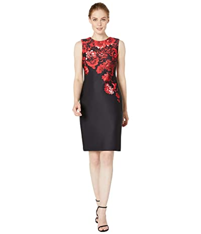 Calvin Klein Floral Border Print Sheath Dress (Red Multi) Women