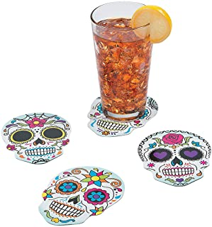 Fun Express Day of The Dead Coasters (Set of 12 Sugar Skulls) Halloween Party Supplies
