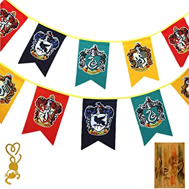 [12pcs 3M]Harry Birthday Gift Potter Wall Banner, Gryffindor | Slytherin | Hufflepuff | Ravenclaw Flags for Bar House Party Decoration