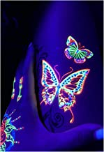 d'IRIS studio UV Glow Party Blacklight Tattoos- Rave Butterflies Temporary Tribal Outfit Bachelorette Accessories Semipermantent Cover up Practice Sleeve Natural Butterfly Flower Markers Tattoos