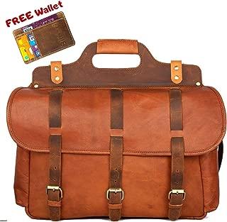 """Messenger Bag Vintage Goat Leather 16"""", Durable Large Briefcase, Multiple Pockets Handmade Saddle for Shoulder Laptop Computer Distressed Satchel, Perfect Gift for Men Women, School, College, Business"""