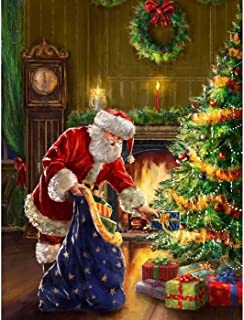 Kaliosy 5D Diamond Painting Christmas Tree and Santa Claus by Number Kits Paint with Diamonds Art for Adults, DIY Crystal Craft Full Drill Cross Stitch Decoration (12x16inch)