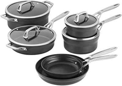 ZWILLING Motion Nonstick Hard-Anodized 10-Piece Cookware Set in Grey, Dutch Oven, Fry pan, Saucepan