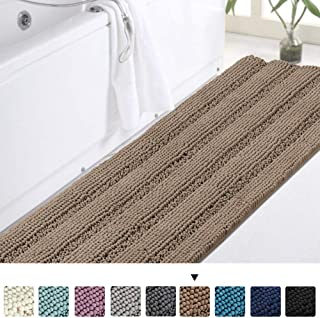 Turquoize Chenille Bathroom Runner Extra Long Bathroom Rug Shaggy Kitchen Rugs and Mats Shower Rug for Bathroom Rugs Non Slip Absorbent Bath Mat Runner for Kitchen/Living Room, 47