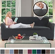 Gorilla Grip Original Fitted Velvet 1 Piece Large Sofa Protector for Seat Width to 70 Inch, Stretchy Furniture Slipcover, Fastener Straps, Spandex Couch Slip Cover Throw for Pets, Sofa, Dark Gray