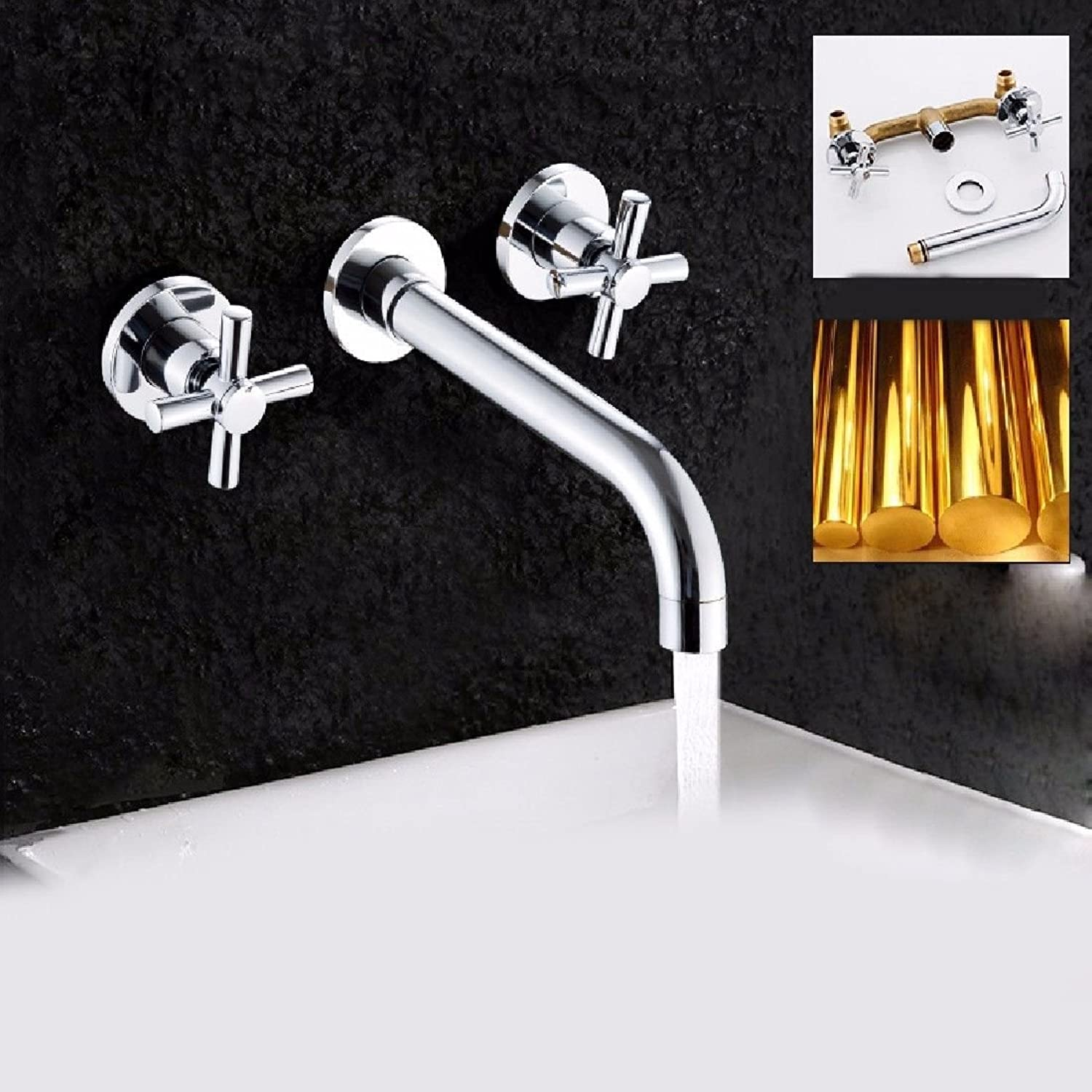 Lalaky Taps Faucet Kitchen Mixer Sink Waterfall Bathroom Mixer Basin Mixer Tap for Kitchen Bathroom and Washroom Full Copper Dark Wall Mounted Hot and Cold Embedded Double Handle