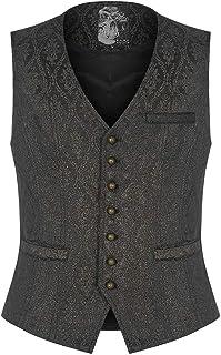 Punk Rave Mens Steampunk Waistcoat Vest Top Black Gold Damask Brocade Jacquard Gothic Vintage Victorian Ottensian Wedding ...