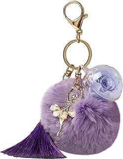 Keychain Women Girls Keyring with Purple Rose Flower Dancing Doll Tassels Hanging Pendant Handbag Decor Wife Girlfriend Da...
