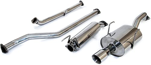 Yonaka Compatible with Honda Civic 2001-2005 2DR/4DR Stainless Steel Performance Catback Exhaust (1.7L only)
