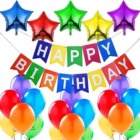 Banderole Guirlande Anniversaire et Latex Ballons ZAWTR Banniere Joyeux Anniversaire Banderole Joyeux Anniversaire//Happy Birthday Banni/ère pour Garcon Fille F/ête Anniversaire D/écorations Or Noir
